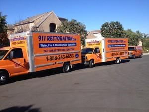 911 Restoration Birmingham Emergency Vehicles at Site