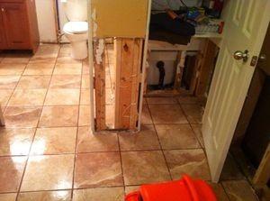 Bathroom Flood Restoration in Progress